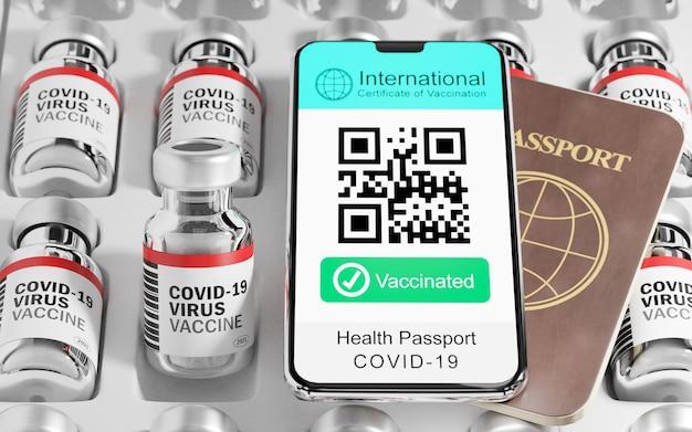 3d illustrazione rendering di smartphone mobile certificato internazionale di vaccinazione campione dello schermo codice qr testo vaccinato e passaporto libro e bottiglia di vaccino sul vassoio