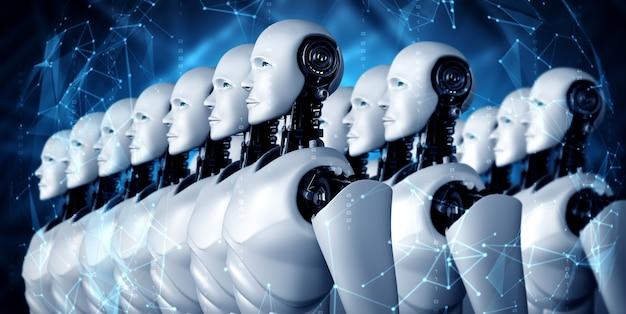 Illustrazione 3d del gruppo umanoide robot