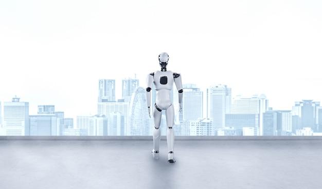 Robot umanoide dell'illustrazione 3d che guarda in avanti contro l'orizzonte di paesaggio urbano