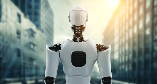 3d illustrazione robot umanoide in attesa contro lo skyline del paesaggio urbano