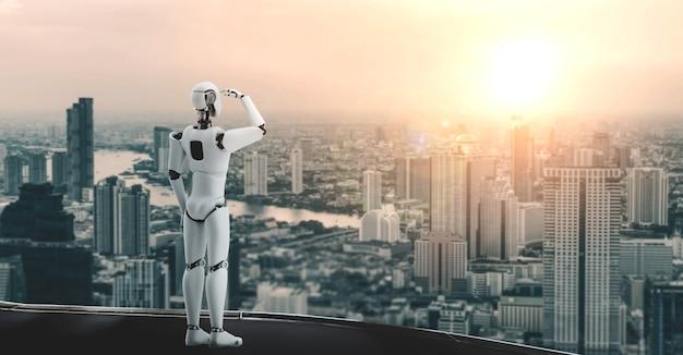 Robot umanoide dell'illustrazione 3d che guarda avanti contro l'orizzonte di paesaggio urbano