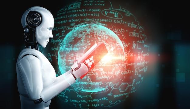 Illustrazione 3d del libro di lettura umanoide robot e risolvere la matematica