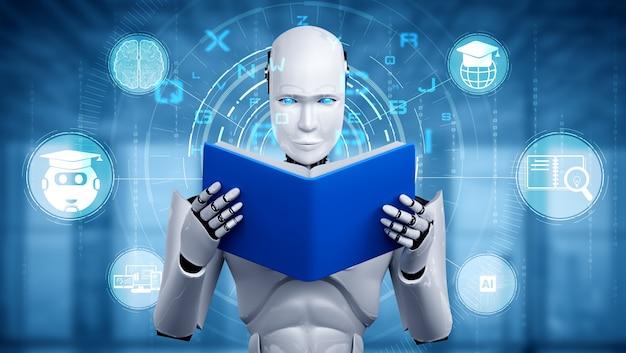 Illustrazione 3d del libro di lettura robot umanoide