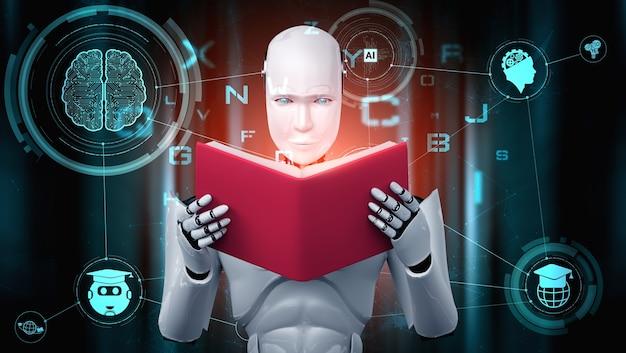 Illustrazione 3d del libro di lettura umanoide robot