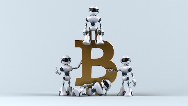 Illustrazione 3d di robot con bitcoin