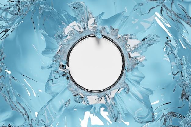 Illustrazione 3d di una cornice bianca rotonda mocap in sfondo isolato monocromatico di vetro. mockup di banner pubblicitario.