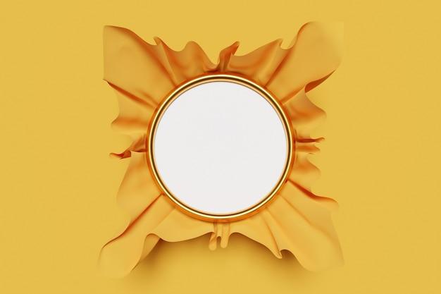 Illustrazione 3d di una cornice bianca rotonda mocap in bella carta gialla volumetrica su uno sfondo monocromatico isolato.