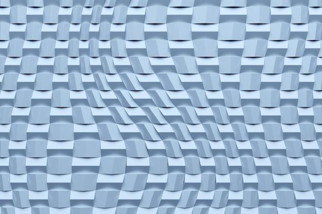 Illustrazione 3d di righe di quadrati al neon blu. set di cubi su sfondo monocromatico, motivo. sfondo di geometria