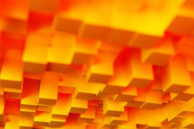 Illustrazione 3d di righe di cubi arancioni e rossi. modello di parallelogramma. sfondo della geometria della tecnologia