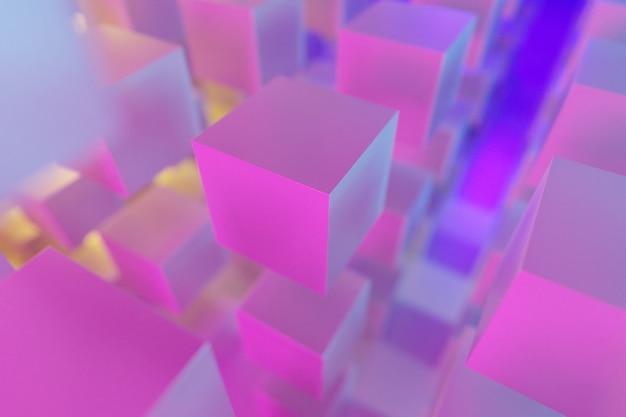 Illustrazione 3d di righe di cubo rosa. set di quadrati su sfondo monocromatico, motivo. sfondo di geometria