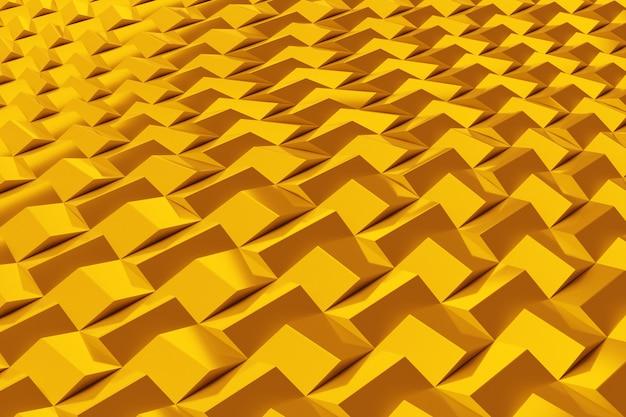 Illustrazione 3d di righe di quadrati gialli. set di cubi su sfondo monocromatico, motivo. sfondo di geometria
