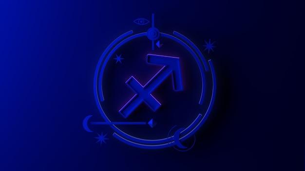 Illustrazione 3d del segno zodiacale sagittario su sfondo scuro. oroscopo. tarocchi.