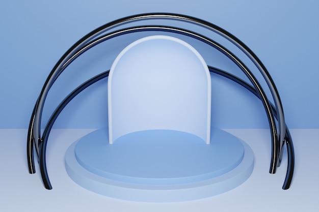 Illustrazione 3d di una scena da un cerchio con arco a tutto sesto sul retro su sfondo blu. un primo piano di un piedistallo monocrome rotondo bianco.