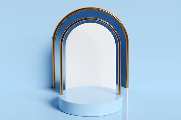 Illustrazione 3d di una scena da un cerchio con arco a tutto sesto sul retro su sfondo blu