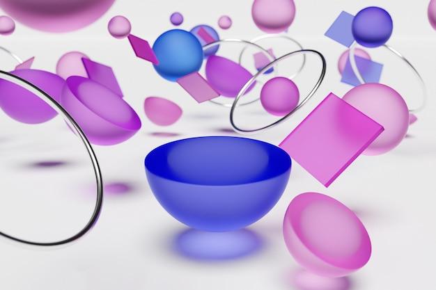 Illustrazione 3d di una scena con decorazioni geometriche cosmiche a forma di pianeti con anelli