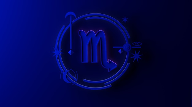Illustrazione 3d del segno zodiacale scorpione su sfondo scuro. oroscopo. tarocchi.