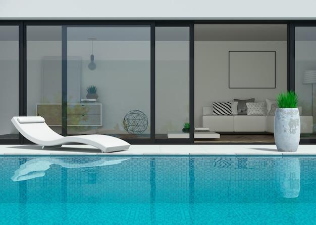 Illustrazione 3d. villa moderna sul mare con piscina e lettini.