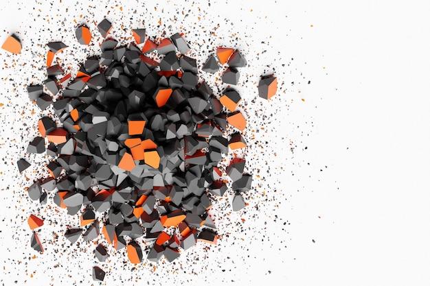 Illustrazione 3d di una piccola esplosione di frammenti di pietra. la forma spezzata sta volando in direzioni diverse.