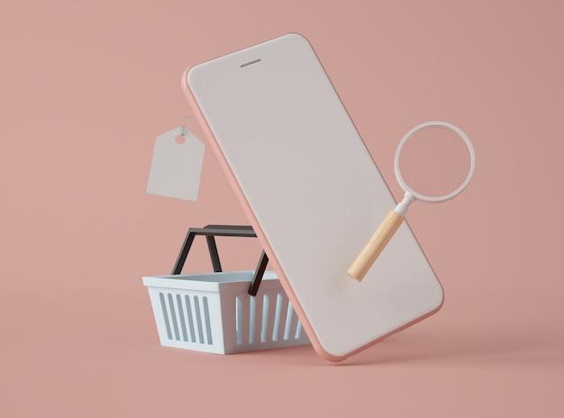 Illustrazione 3d. smartphone e carrello.