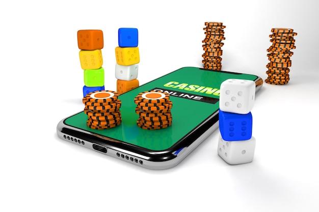 Illustrazione 3d. smartphone con dadi e patatine. concetto di casinò online. sfondo bianco isolato.