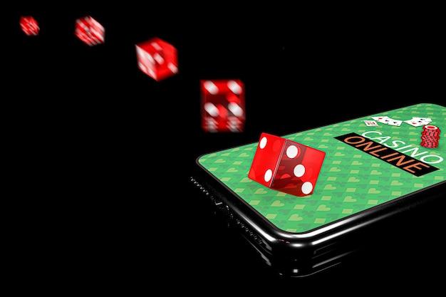 Illustrazione 3d. smartphone con dadi. concetto di casinò online. sfondo nero isolato.