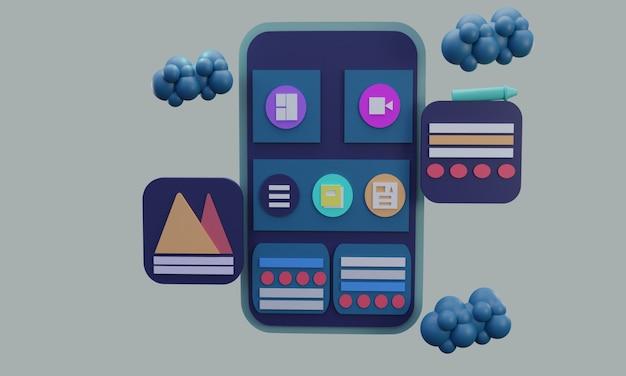 Smartphone con illustrazione 3d con rete sul lato