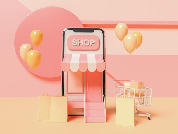 Illustrazione 3d. smartphone con un carrello della spesa e sacchetti di carta su sfondo astratto. concetto di acquisto online.