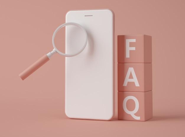 Illustrazione 3d. smartphone con domande frequenti sul testo.