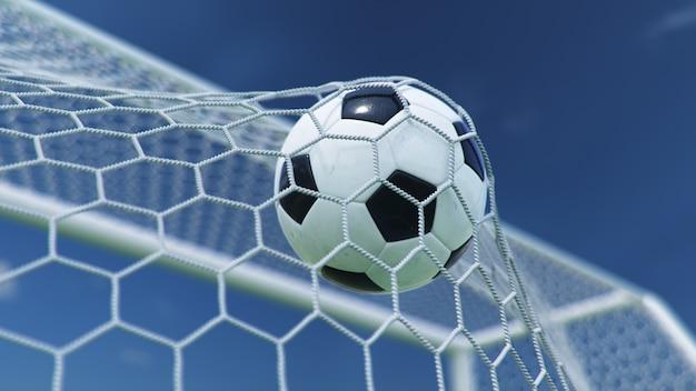 Illustrazione 3d il pallone da calcio è volato in porta