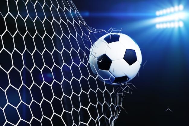3d illustrazione di pallone da calcio strappare e rompere la rete della porta di calcio.