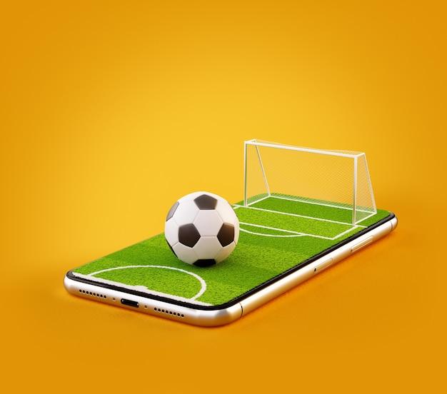 Illustrazione 3d di un campo da calcio e pallone da calcio sullo schermo di uno smartphone