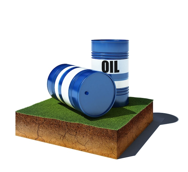 Illustrazione 3d della spalla mancante del suolo. cubo di sporco vista aerea con barili di petrolio isolati
