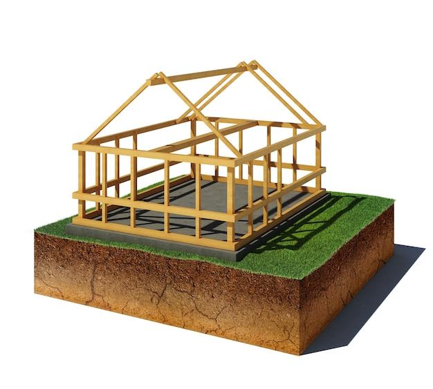 Illustrazione 3d della spalla mancante del suolo. cubo di sporco vista aerea con costruzione in legno isolato