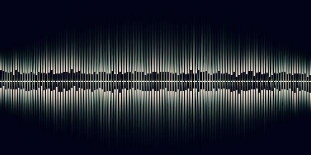 Illustrazione 3d onda sonora musica astratta impulso grafico delle onde sonore di frequenza e spettro separatamente su fondo nero