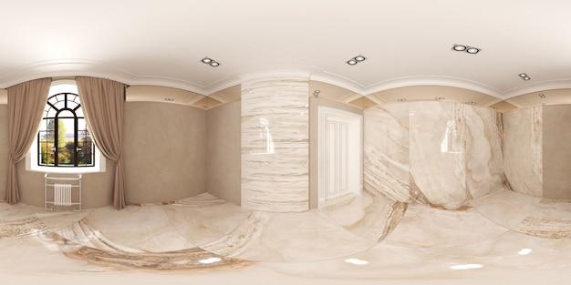 Illustrazione 3d sferica 360 gradi vr un panorama senza soluzione di continuità della stanza e della stanza degli interni luminosi