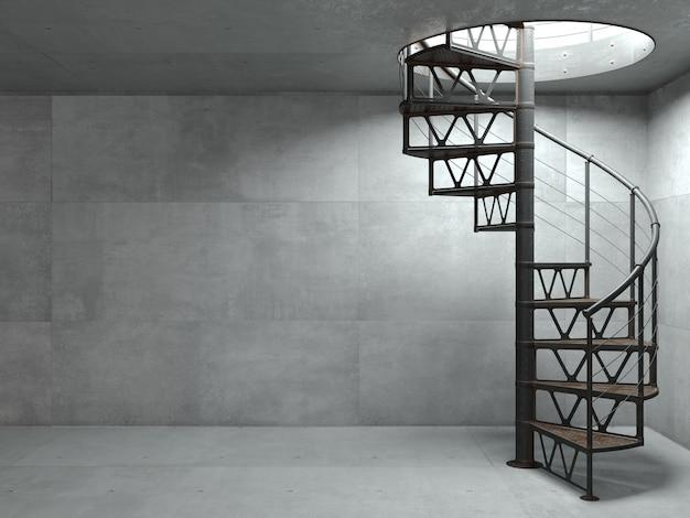 Illustrazione 3d. scala a chiocciola in metallo in stile loft. muro di cemento su sfondo