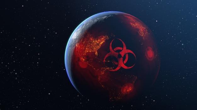 Illustrazione 3d di diffusione del virus attraverso il globo del pianeta terra