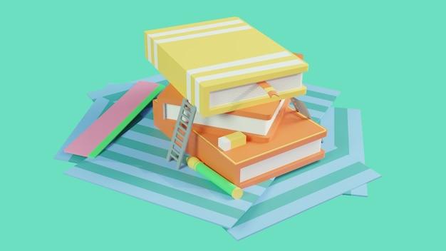 Illustrazione 3d di una pila di libri con sfondo