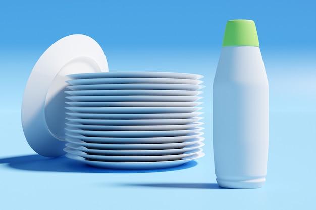 Illustrazione 3d di una pila di piatti bianchi identici con una bottiglia di utensili