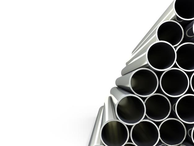 Illustrazione 3d di una pila di tubi isolati