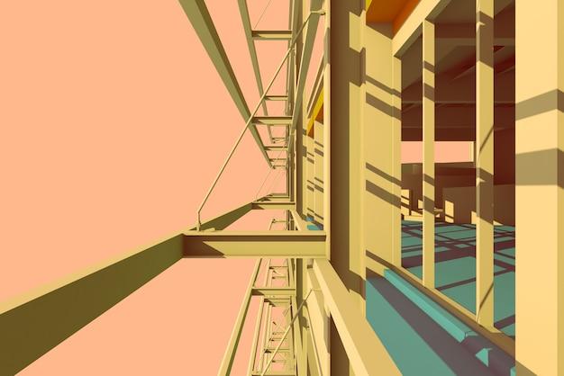 Progettazione della struttura d'acciaio dell'illustrazione 3d