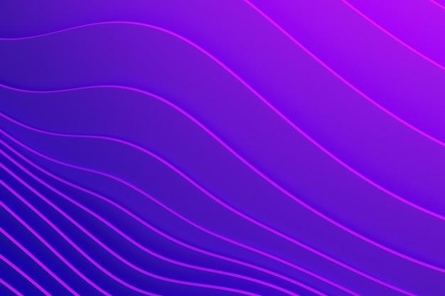 Illustrazione 3d di una striscia viola stereo. righe geometriche simili alle onde. modello astratto di linee di attraversamento incandescente blu