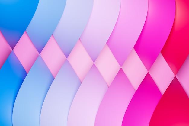 3d illustrazione di una striscia stereo di diversi colori strisce geometriche colorate simili alle onde.