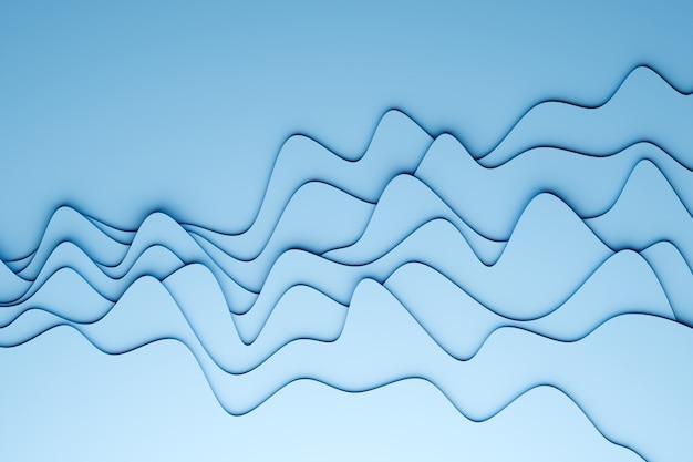 Illustrazione 3d di una striscia stereo di diversi colori. strisce geometriche simili alle onde. modello di linee di attraversamento incandescente al neon bianco e blu astratto