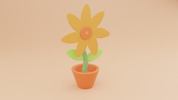 Illustrazione 3d di girasole con sfondo
