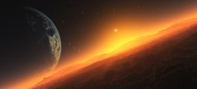 Illustrazione 3d del tramonto sul pianeta alieno