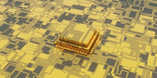 Illustrazione 3d dello sfondo del microchip tecnologico, prospettiva del circuito stampato di superficie digitale e del chip