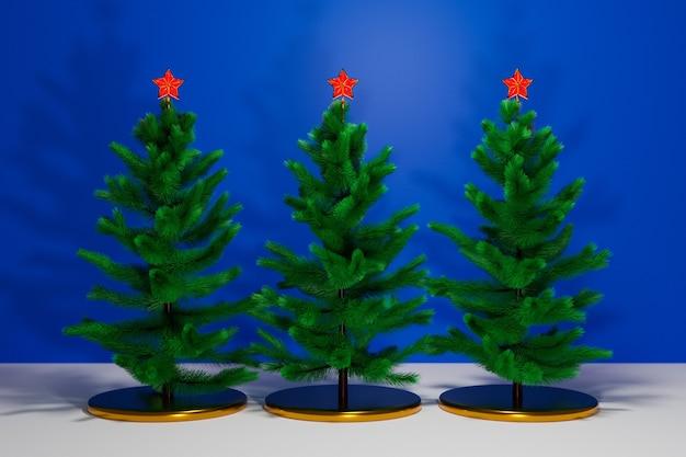 Illustrazione 3d tre alberi di natale reali con le stelle