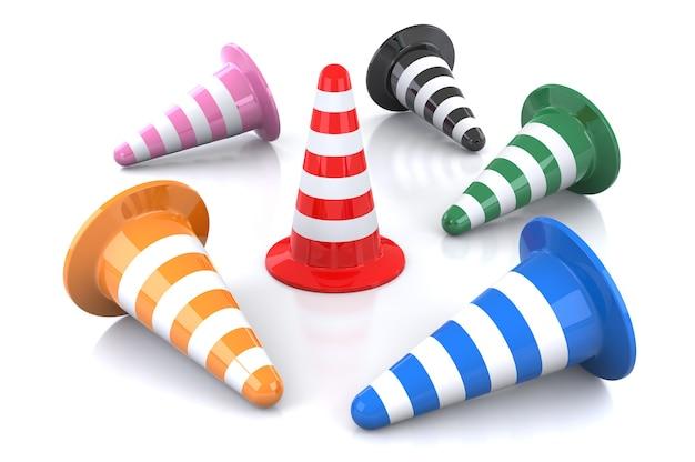 Illustrazione 3d del cono stradale rovesciare su sfondo bianco