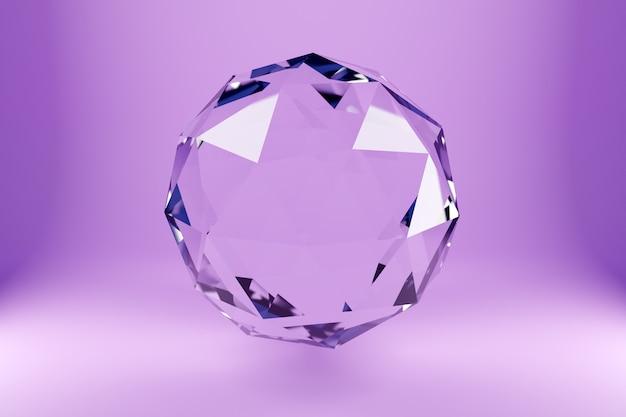 Illustrazione 3d di una sfera di vetro trasparente con molte facce, cristalli sparsi su uno sfondo rosa sotto una luce al neon bianca. figura geometrica tridimensionale semplice. forma di palla cyber